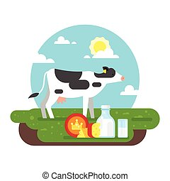 cow graze in a field and dairy products - Vector flat style...