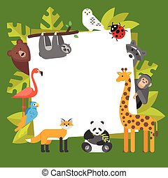 zoo animals. Template for banner