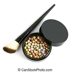 Face powder with a brush