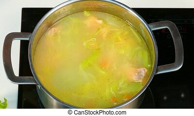 In a saucepan with cream add cream - In a pan of fish and...
