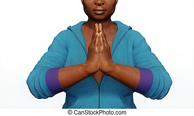 African woman hands in namaste close up