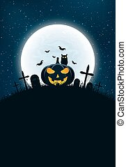 Template for Halloween party. The night scene of horrors. The concept of crosses, graves and glowing pumpkin. The black owl. Full moon. Vertical background. Club poster