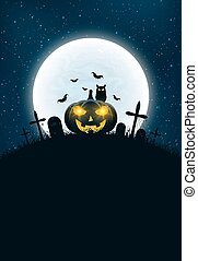 Template for Halloween. The night scene of horrors. The concept of crosses, graves and pumpkin with luminous yellow eyes. The black owl. Full moon. Vertical background