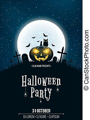 Template for Halloween party. The night scene of horrors. The concept of crosses, graves and pumpkin with luminous yellow eyes. The black owl. Full moon. Vertical background. Club poster