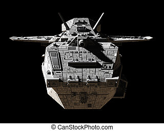Science Fiction Interplanetary Spaceship - Front View -...