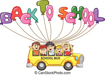 Bus and children flying with balloon letter cartoon