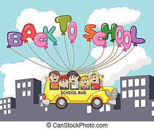 Bus and children flying with balloon letter through city building cartoon
