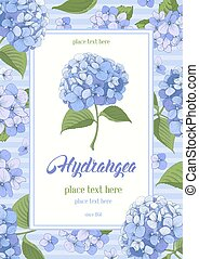 Hydrangea card - Vintage card with hand drawn floral...