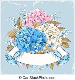 Luxurious hydrangea - Vintage luxury card with detailed hand...