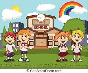 Students in front of school cartoon