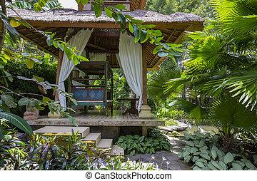 garden., enramada, relajante, de madera, isla, indonesia,...