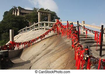Stairs with locks at Hua Shang Moun