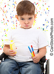 Child Boy Paint Wheelchair - Adorable 2 year old boy in...