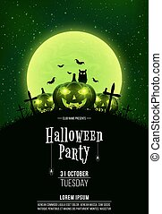 Template for Halloween party. A terrible concept of crosses, graves and glowing pumpkins. Green dust. The black owl. Full moon. Vertical background. Club poster
