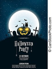 Template for Halloween party. A terrible concept of crosses, graves and a glowing pumpkin. Gold dust. Black owl. Full moon. Vertical background