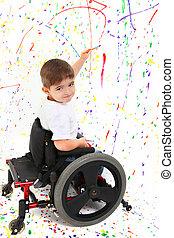 niño, niño, Pintura, sílla de ruedas