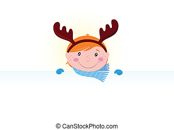 Cute Child with blank banner - Christmas cute small boy in...