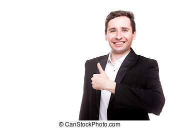 Confident smiling businessman in formal wear isolated over...