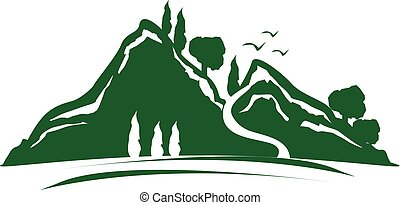 green mountain icon - green mountain with trees and birds,...