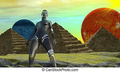 Robot in a Distant World with two Planets and Egyptian style...