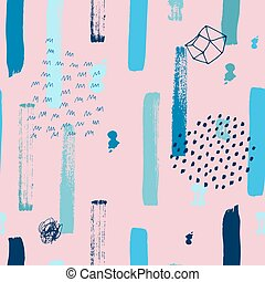 Boho seamless pattern - Boho neon seamless pattern with pink...