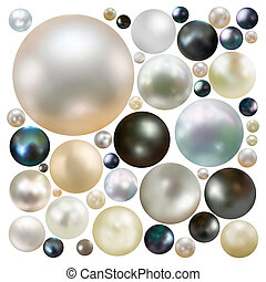 Collection of color pearls isolated EPS 8 - Collection of...