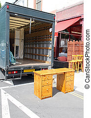 Moving Truck - Open Rear End of Furniture Moving Truck