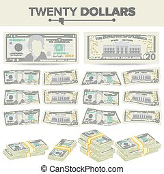 20 Dollars Banknote Vector. Cartoon US Currency. Two Sides...