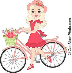 Vector Beautiful Blond Girl with Bicycle
