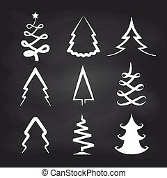 White christmas tree icons on chalkboard background. Vector...