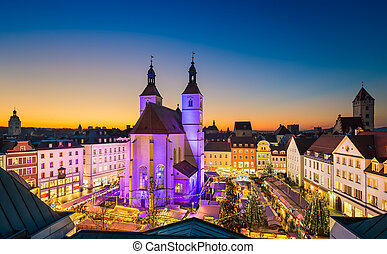 Christmas market in Regensburg, Germany - Christmas market...