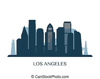 Los Angeles skyline, monochrome silhouette.