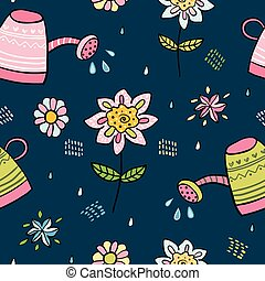 Seamless garden themed vector pattern with floral elements...