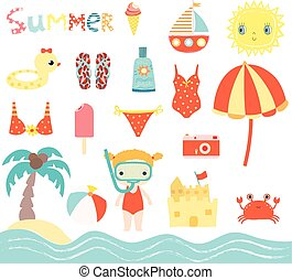 Cute summer beach vector set with little girl with snorkel design elements for kids invitations, birthday and greeting cards
