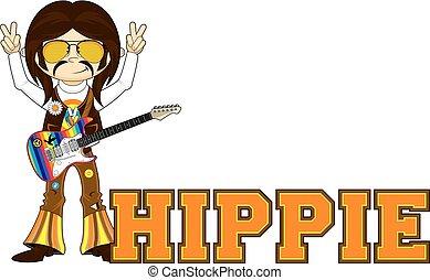 Cartoon Hippie - Cute Cartoon Flower Power Hippie with...