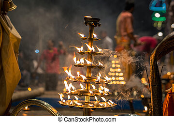 Candles fire puja