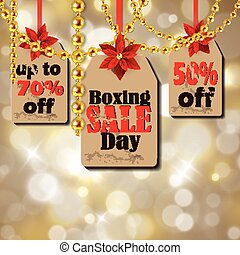 Boxing day tag - Boxing day sale tags with poinsettia...