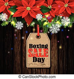 Boxing day tag - Boxing day sale tag with evergreen trees...