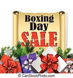 Boxing day tag - Boxing day sroll paper with evergreen trees...