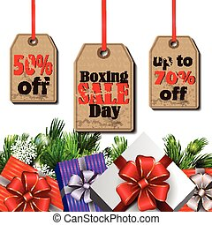 Boxing day tag - Boxing day sale tags with evergreen trees...