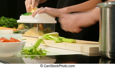 Preparation of celery and cheese for dishes