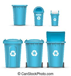 Blue Recycling Bin Bucket Vector For Paper Trash. Opened And Closed. Front View. Sign Arrow. Isolated Illustration