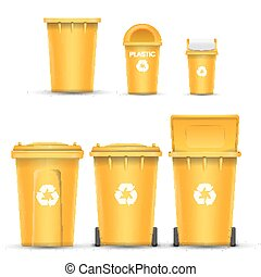 Yellow Recycling Bin Bucket Vector For Plastic Trash. Opened And Closed. Front View. Sign Arrow. Isolated Illustration