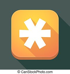 Long shadow app button with an asterisk - Illustration of a...