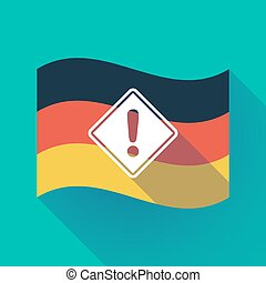 Long shadow Germany flag with   a warning road sign