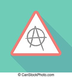 Long shadow warning signal with an anarchy sign -...