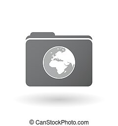 globo de europa, áfrica, aislado, regiones, asia, mundo, carpeta