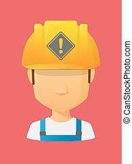 Worker avatar with   a warning road sign