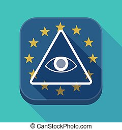 Long shadow EU square button with an all seeing eye