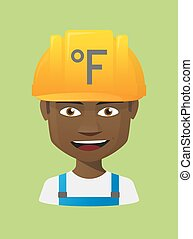 Worker avatar with  a farenheith degrees sign